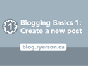 Blogging basics 1: Create a new post